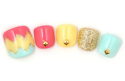 Pastel colours for toe nails with golden glitter and studs. Would love this painted on my real nails!