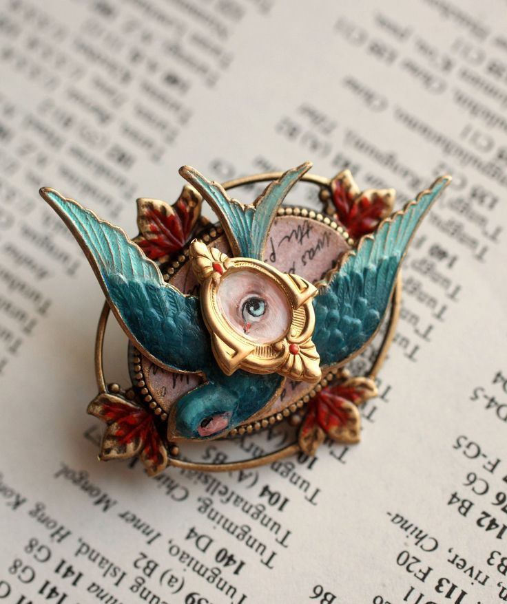 Snow White and the Bluebird of Happiness - Eye Candy brooch -  by Mab Graves. $65.00, via Etsy.