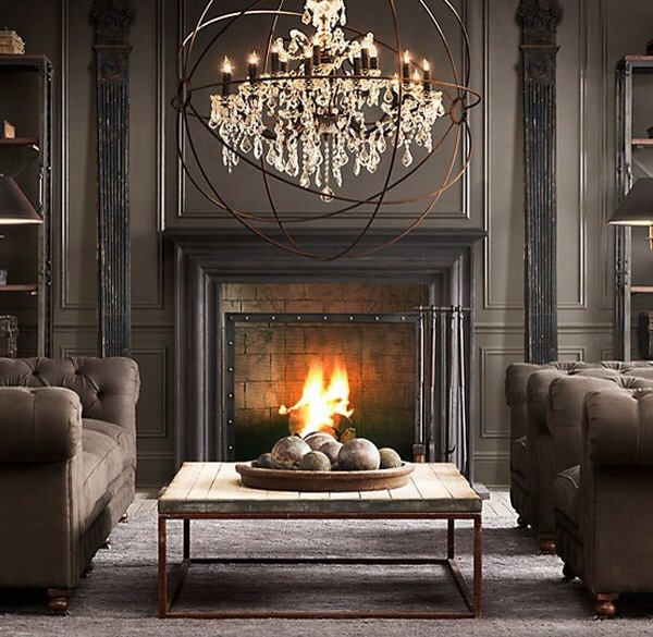 Foucault's Orb Crystal Chandelier in Polished Nickel Extra-Large