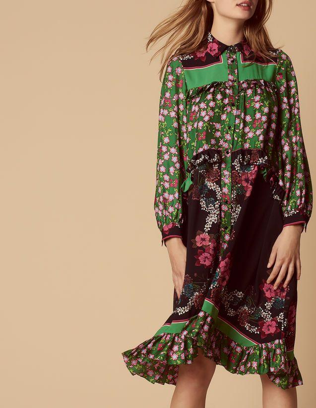 c362e9db3b7b Floral print dress with a shirt collar