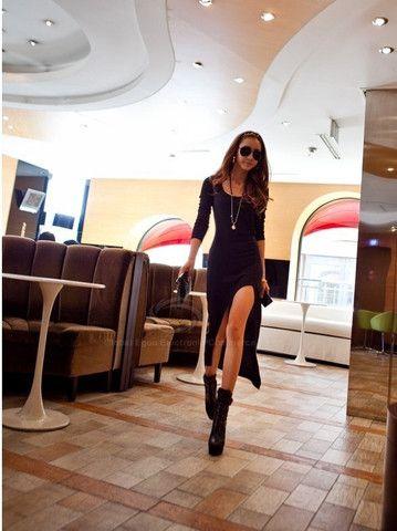 Casual Scoop Neck Long Sleeve Asymmetrical Hem Dress – teeteecee - fashion in style