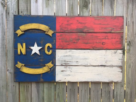 North Carolina Flag Weathered Wood Rustic Wood Flag Wooden