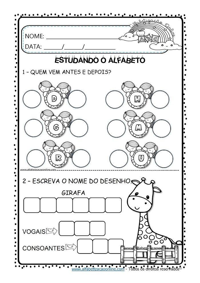 Atividades De Alfabetizacao Letras Do Alfabeto Em 2020
