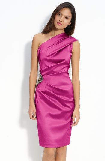 Eliza J Beaded One Shoulder Satin Dress available at Nordstrom