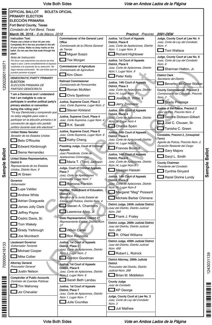 Sample ballot for 2018 primary, Pct. 2091 DEM