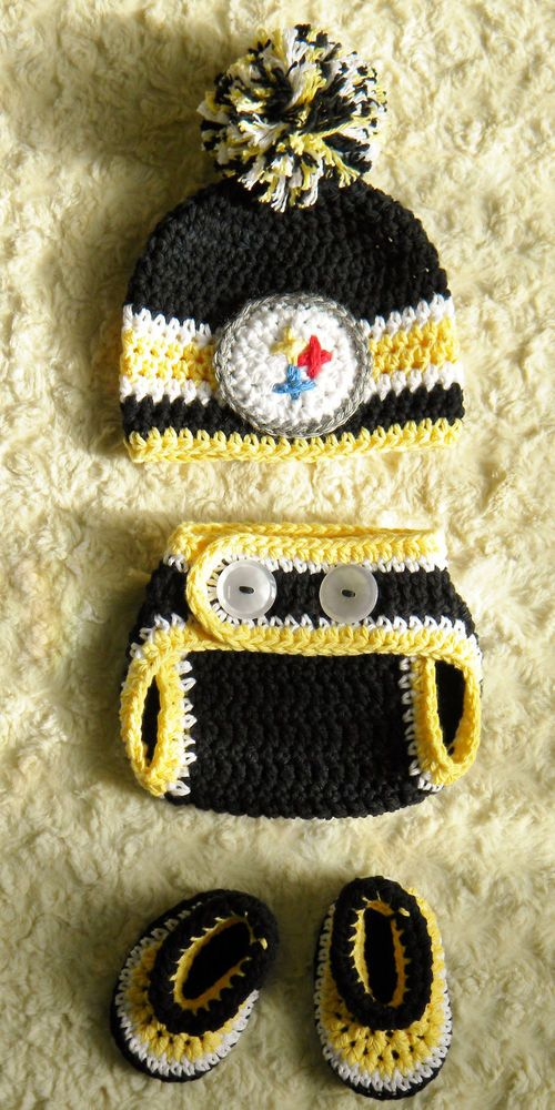 Pittsburgh Steelers Football Baby Crochet pom-pom hat, diaper cover, booties #OhSoKnotty #Everyday