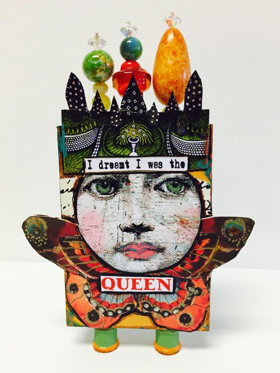 ATB - Artist Trading Block. (3D ATC). Mixed Media Art Doll Collage by IMGirl