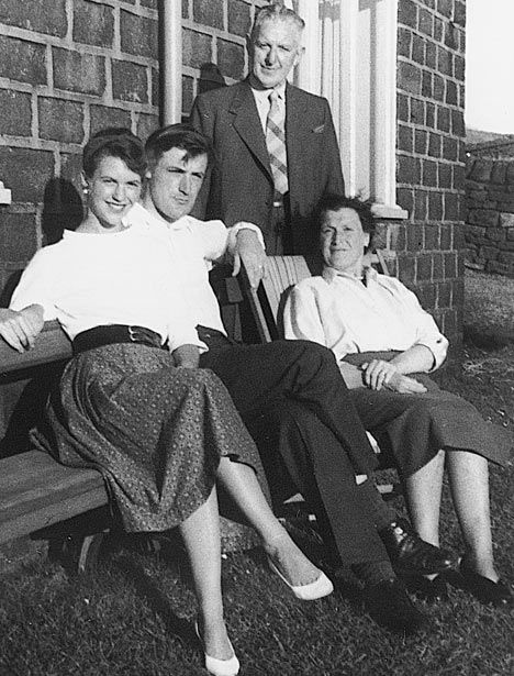 Sylvia Plath and Ted Hughes with his parents, William and Edith, 1956