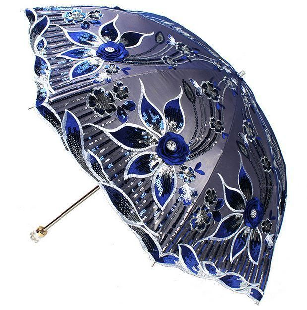 New Women Elegant Embroidery lace Parasol Lady Anti UV Sun Rain Folding Umbrella #YALI #Parasol
