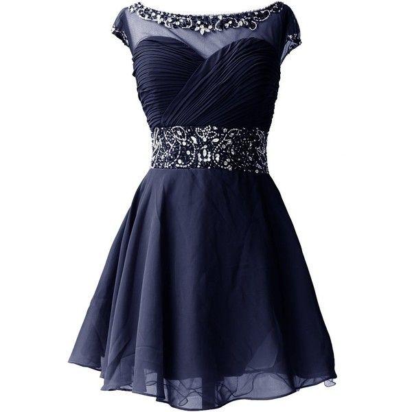 Dresstells Knee Length Prom Dress for Girls Short Homecoming Dress ($100) ❤ liked on Polyvore