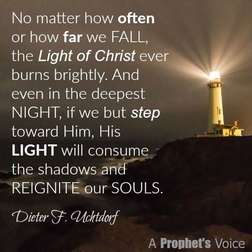 """Sometimes after stumbling, failing, or even giving up, we get discouraged and believe our light has gone out and our race is lost. But I testify that the Light of Christ cannot be extinguished. It shines in the darkest night and will relight our hearts if only we incline our hearts to Him."" From #PresUchtdorf's http://pinterest.com/pin/24066179228856353 message http://lds.org/ensign/2015/10/finish-with-your-torch-still-lit #ShareGoodness"