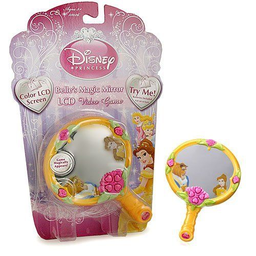 Disney Princess Belle's Magic Mirror LCD Video Game by Technosource. $12.67. 2 AA batteries included. Color LCD Screen. Belle has snuck into the Forbidden West Wing and discovered the Beast's enchanted rose. Catch all the rose petals to keep the rose in bloom, but watch out for Lumiere and Cogsworth, who are trying to get Belle out of the Beast's secret room! Also includes multiple levels, sound control, vibrant color LCD screen, music and sound effects!