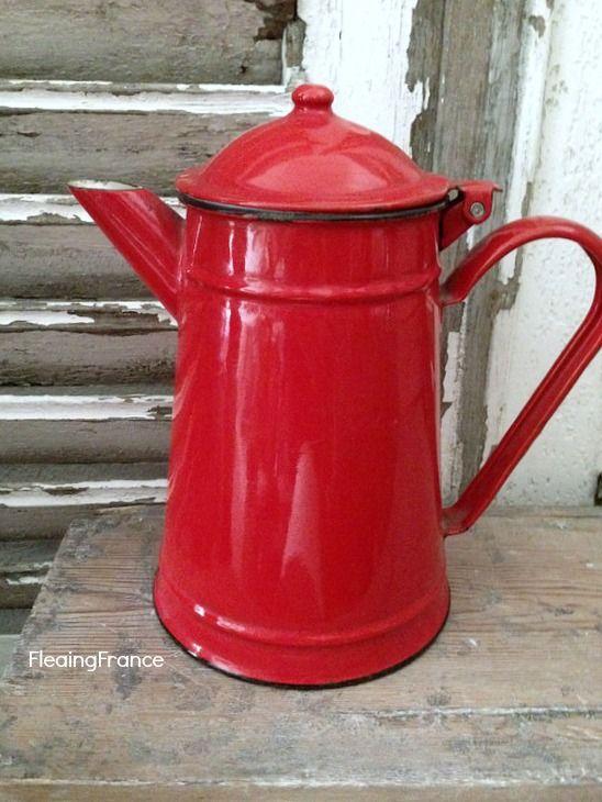 FleaingFrance...Enamel Coffee Pot