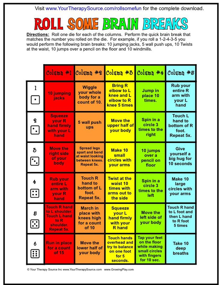 Roll a Brain Break! Get your free printable PDF from…