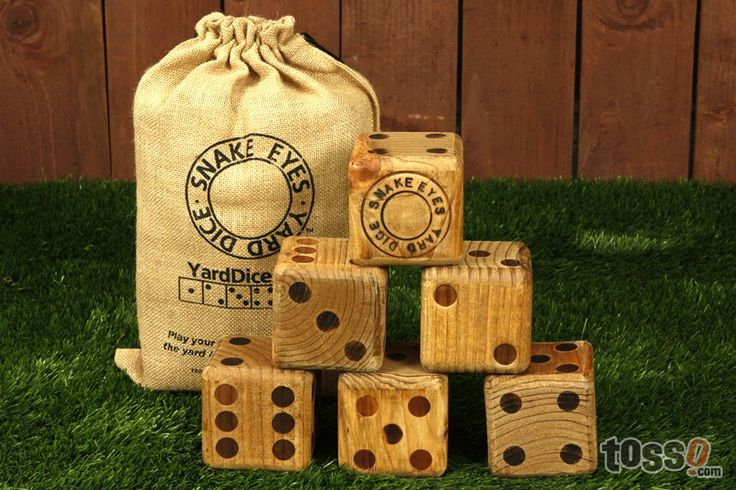 Yard Dice!!! Play Yahtzee in your backyard! Use the leftover fence posts cut to size and have hubby finish them.