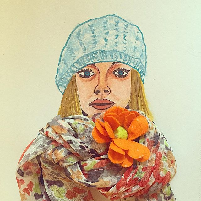 #inspiration #illustration #design #fashion #nature #flower #feature #facial #women #sketch #painting #art #artsy #artwork #drawing #floral #mixmedia #nature #scarf #portrait #women