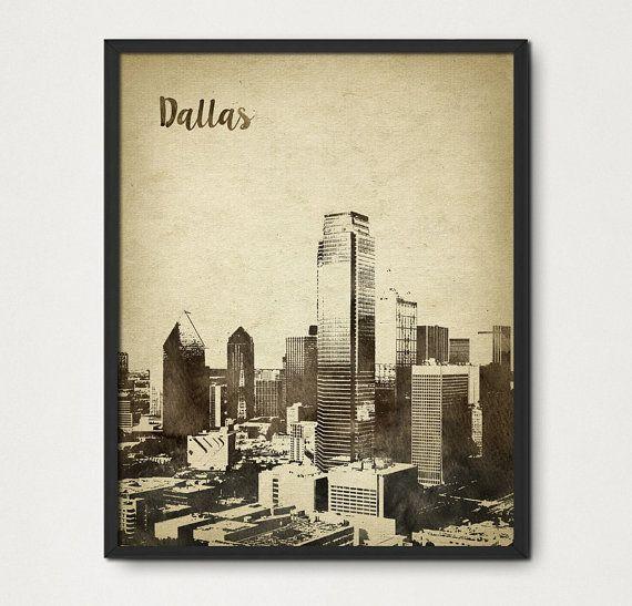 Dallas Texas Watercolor Wall Art Print - Dallas Skyline Travel Poster - Aged Rustic Dallas Cityscape United States - Travel Gift