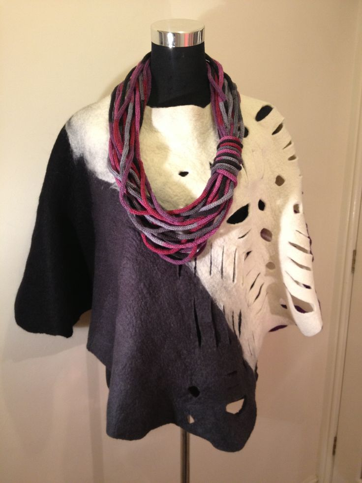 Www.nadinsmo.com Handmade wool felted poncho-cape with colourful hand knitted necklace by Nadin Smo design