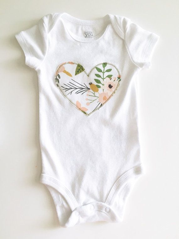 Heart Applique Onesie | Etsy                                                                                                                                                                                 More