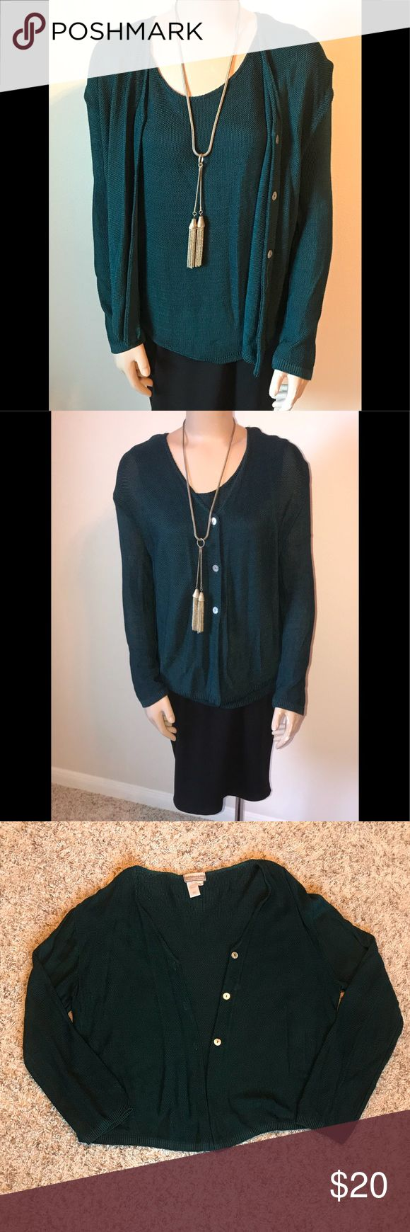 Coldwater Creek Sweater Set This green and black sweaters set includes a tank and a button up cardigan. It pairs well with a skirt or a pair of slacks. Sweaters Cardigans