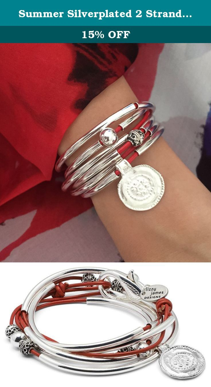 """Summer Silverplated 2 Strand Gloss Red Leather Wrap Bracelet (XXLarge (7 1/2"""" - 7 3/4"""")). This unique artisan bracelet design evokes memorable summers spent in Southern California for Lizzy. The antique silverplate medallion & ornate silverplate beads create a focal point for this wrap bracelet. It can also be worn as a necklace. Choose your color leather to match your mood for the day. Sizing Information Measure your wrist with a string without slack to determine your size wrist. This..."""