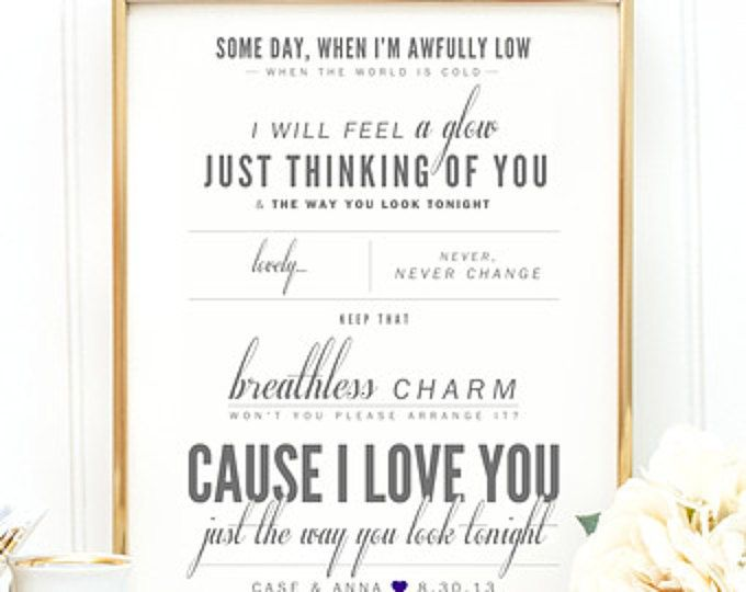 The 25 best valentine lyrics ideas on pinterest my valentine frank sinatra the way you look tonight valentines wedding gift paper stopboris Image collections