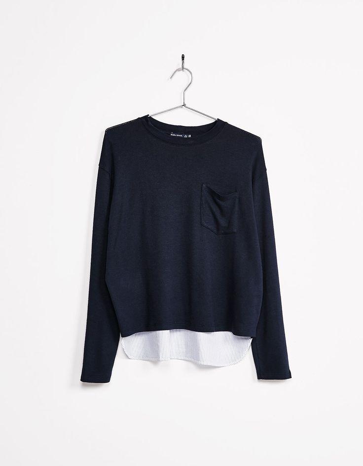 Jersey con bolsillo bajo camisa - Novedades - Bershka Mexico