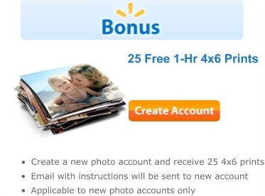 Walmart Photo: 25 FREE 4×6 Prints::register for a free account, and you'll receive an email with a unique code for 25 FREE 4×6 photo prints (my email came within minutes of my registration!). Follow the directions in the email and then go to your local Walmart Photo center to pick up the prints for free.