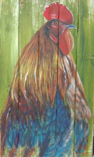 Inge du Preez: Rooster 2 - acrylic on wood
