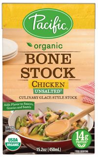 Pacific Food organic chicken bone stock. No FODMAP ingredients. Do check the label carefully, as there are many similarly named products and not all are onion-free.