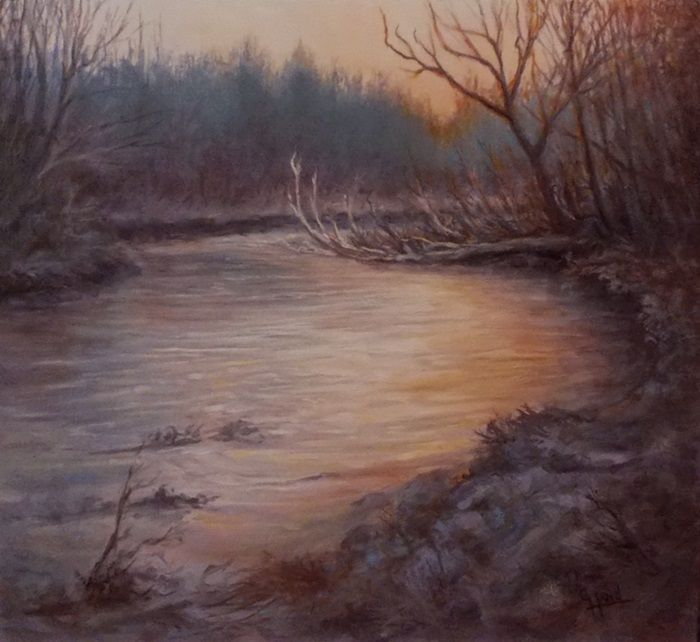 """""""Spring Thaw on the Humber River""""  Kleinberg Ontario an oil painting by Greg Hand"""