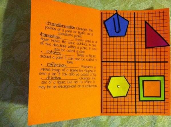 Transformations Foldable Core Math Teaching Geometry