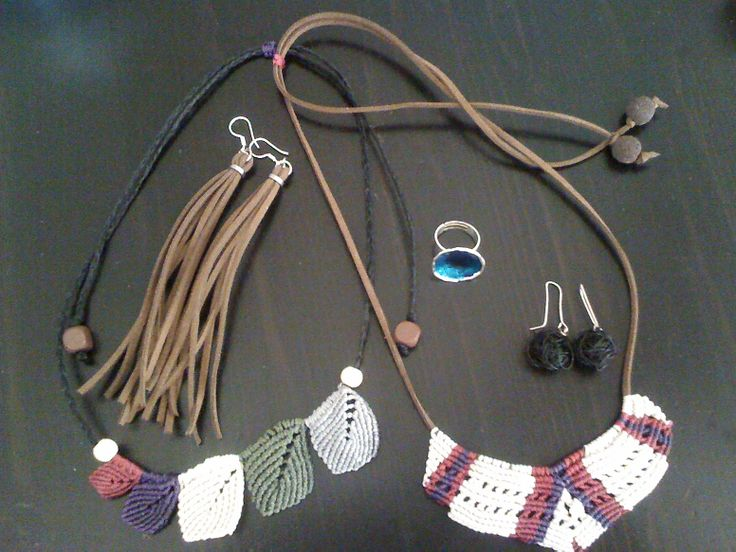 Handmade jewellery. Macrame, leather, enamel and wire.