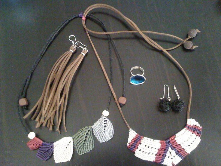 Handmade jewellery. Macrame, leather, enamel and wire.