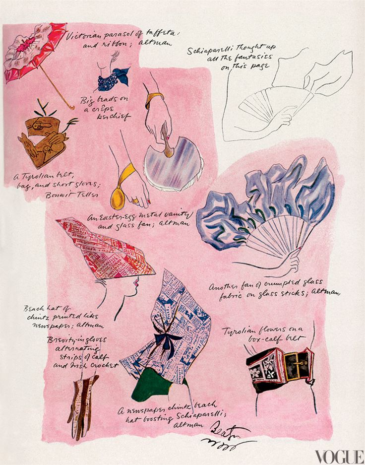 Fantasies thought up by Schiaparelli—including a fan of crumpled glass and newspaper-print chintz hats, 1935.  Illustration by Cecil Beaton