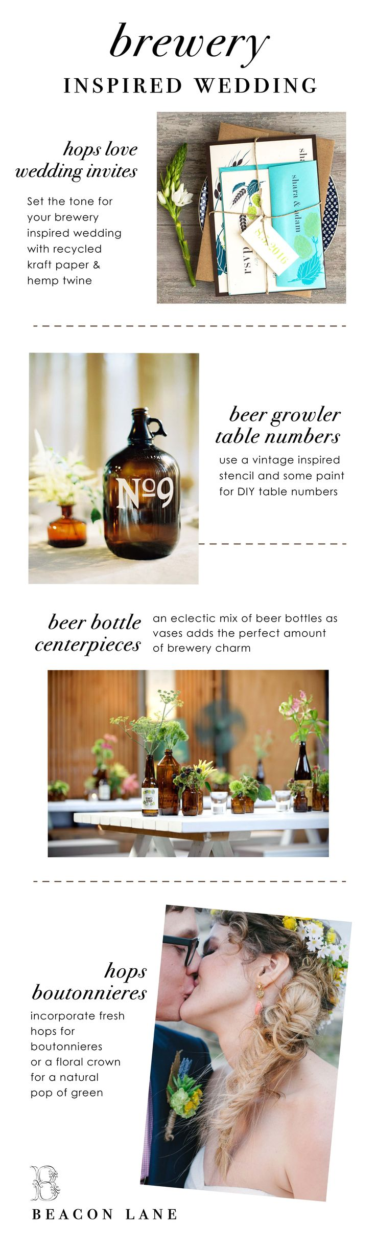 Beer Inspired, Brewery Wedding.Follow below link for the entire #HopsLove collection: http://www.beaconln.com/?s=hops+love&post_type=product (Beer Bottle Centerpieces)