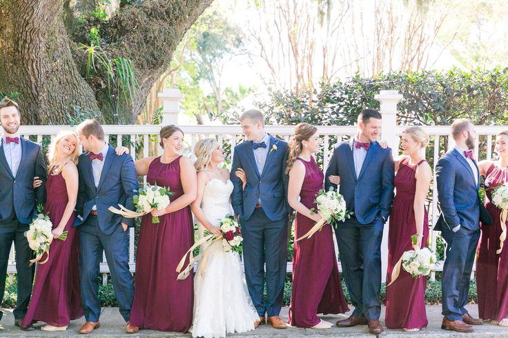 Dark Blue/Gray Suits + Wine Bridesmaid Dresses | Romantic Fall Thomas Bennett House Wedding by Charleston wedding photographer Dana Cubbage Weddings