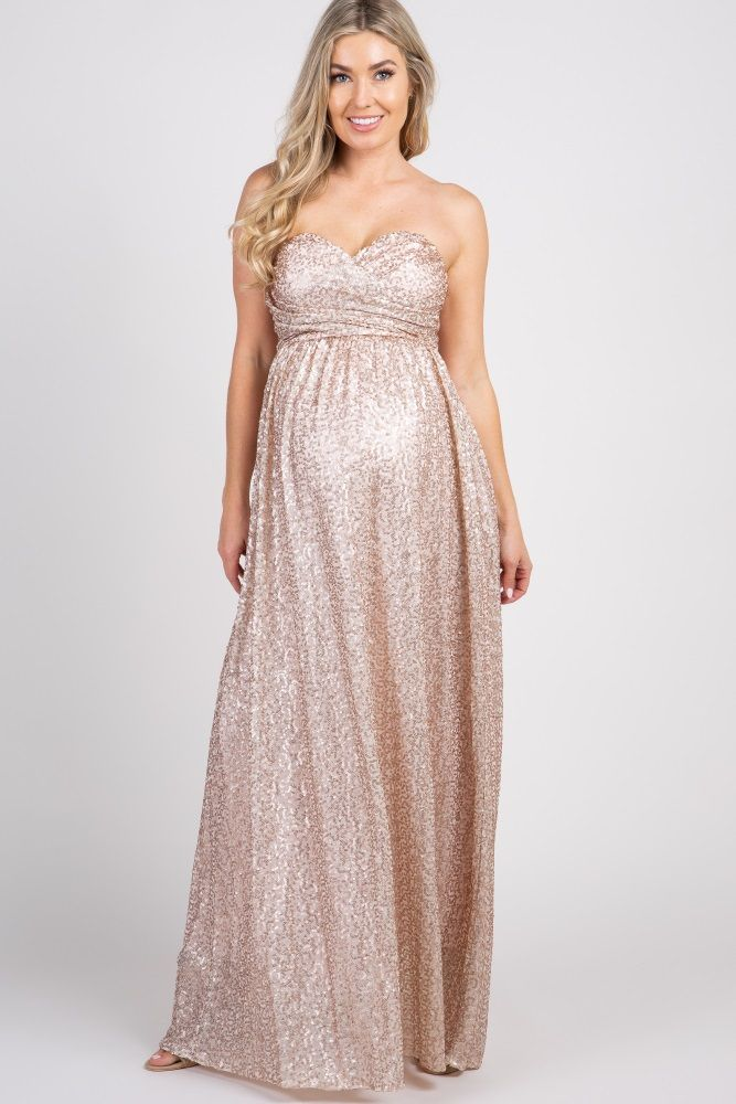 ca4a4602bd100 Rose Gold Sweetheart Sequin Maternity Gown | kleider | Gold ...