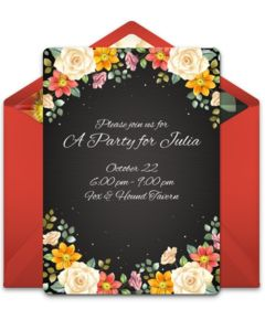 Lovely bridal shower online invitation with a beautiful fall floral design. Great way to invite friends and family to a gorgeous, floral bridal shower!