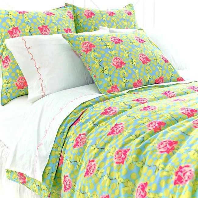 Lime Green And Pink Bedding!