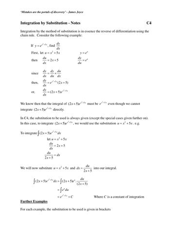 Integration by Substitution - Notes (1).doc