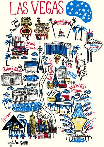 Las Vegas Cityscape by Julia Gash.  I went to Vegas with my partner John in February 2012 for a trade show.  I was intrigued by the architecture - a mini world in one city!  We stayed at the LVH and I touched Elvis, which made me smile :-)