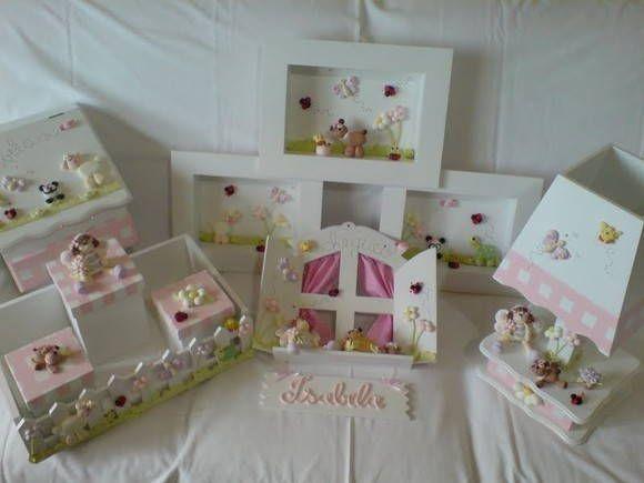 quarto bebe tema jardim:Kit para quarto de bebê menina no tema borboleta no jardim, peças em