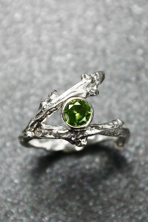 Sterling Silver Twig Ring with Birthstone......looks like peridot to me so I'm pinning it.
