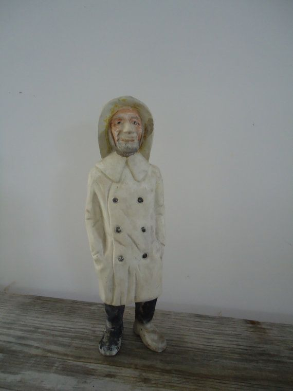 Proud Fisher Ceramic Figurine  This lovely sculpture of an old fisherman was washed ashore in NC after Hurricane Sandy It is signed and dated