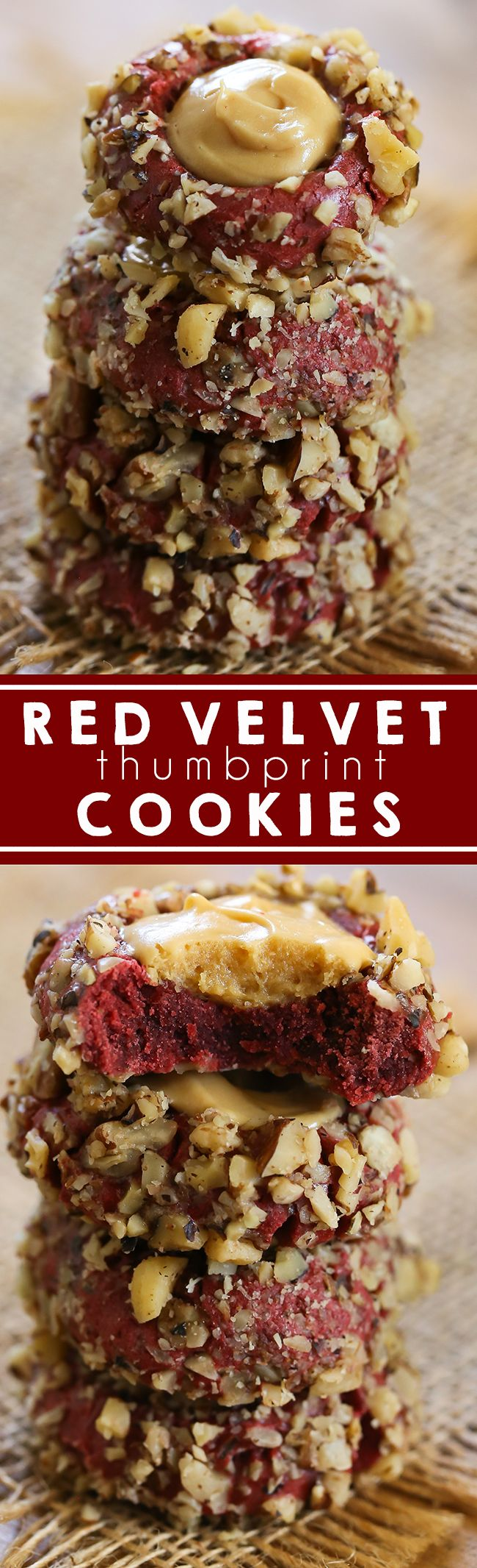 Red Velvet Thumbprint Cookies - The most amazing red velvet cookies with caramel cream cheese filling. #cookies #redvelvet #christmascookies