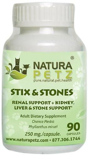 Natura Petz Stix and Stones Renal Kidney Liver and Stone Support for Pets 90 Capsules 350mg Per Capsule