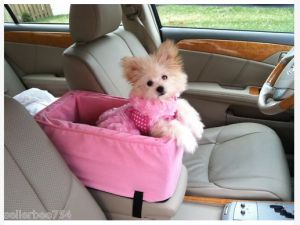 $69.95 Small Pink Luxury Pet Console small dog car carrier for safety
