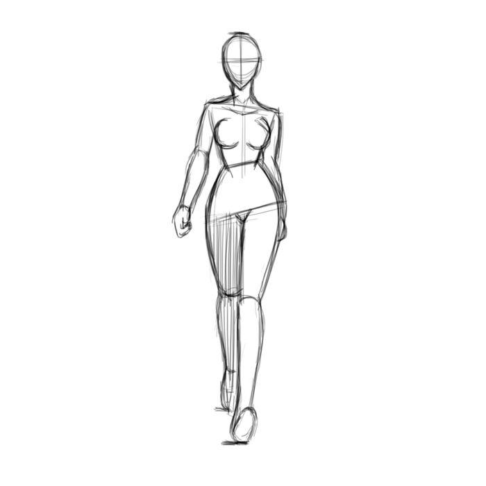 Walk cycle of a woman of front in Toon Boom Harmony. Key Poses - Breakdowns -Inbetweens