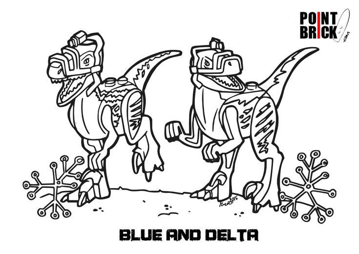 Disegno da colorare LEGO I raptor Blue e Delta Clicca